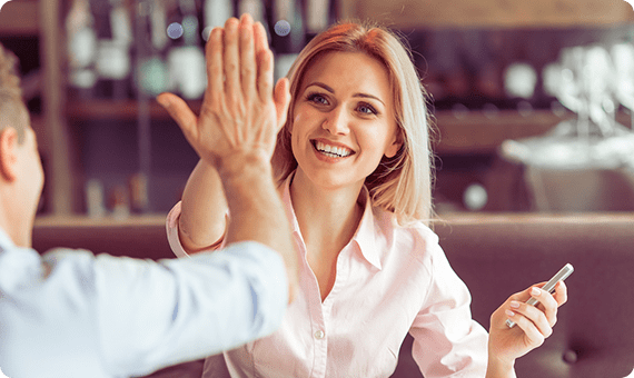 Woman high-fiving