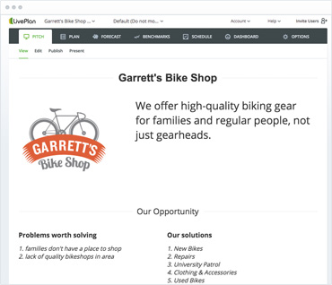 Example Garret's Bike Shop plan