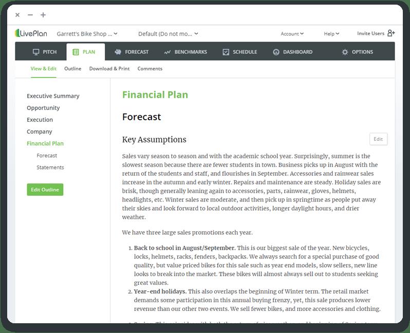 LivePlan app plan preview