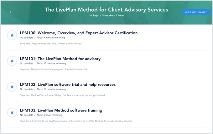 LivePlan Method training program