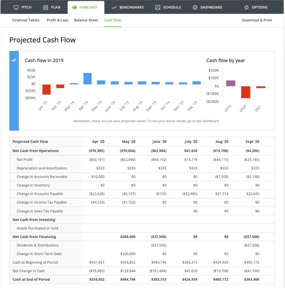 LivePlan Projected Cash Flow
