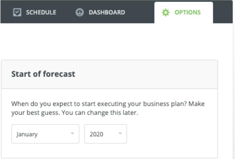 LivePlan start of forecast