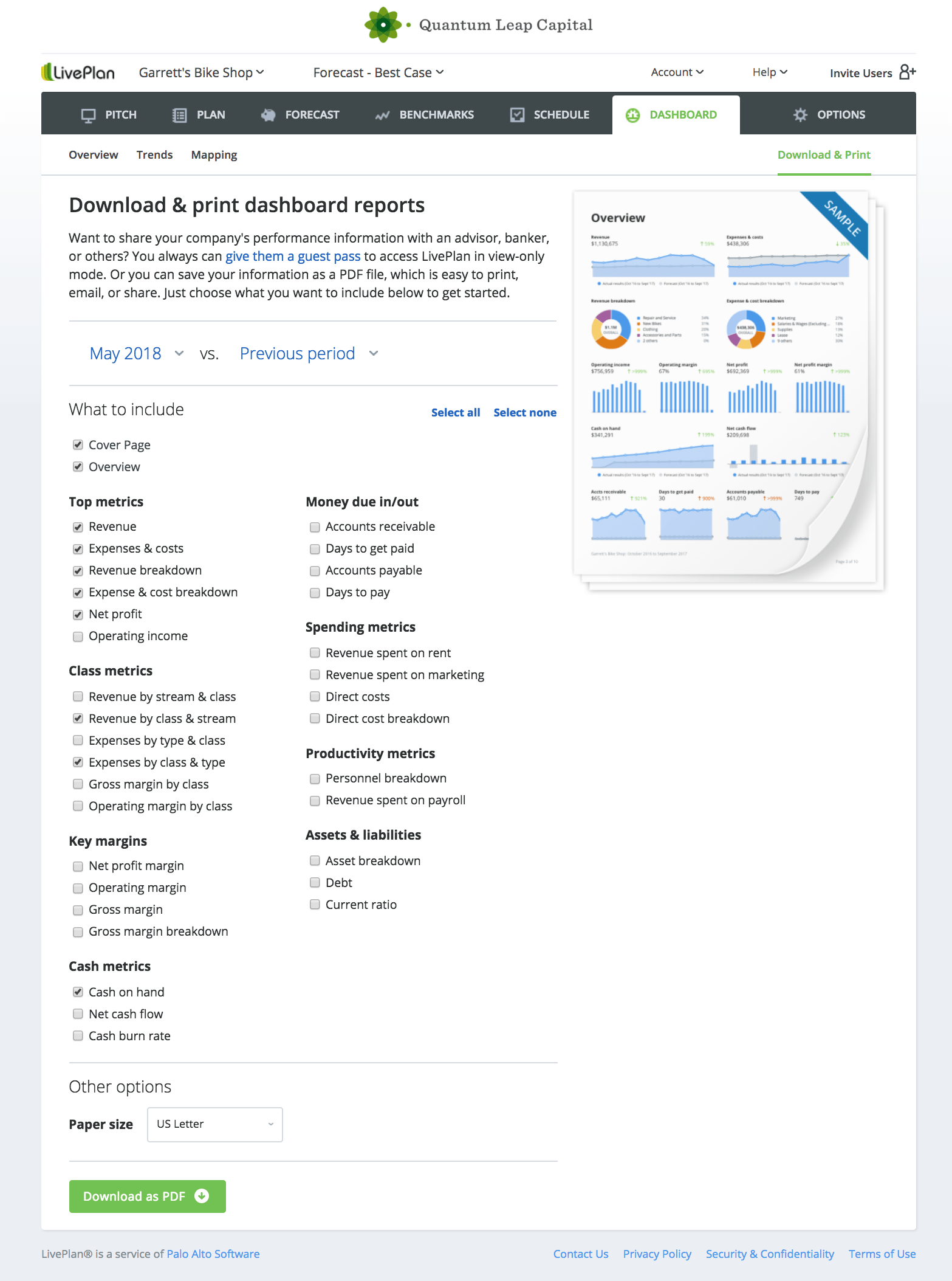 LivePlan instant reports